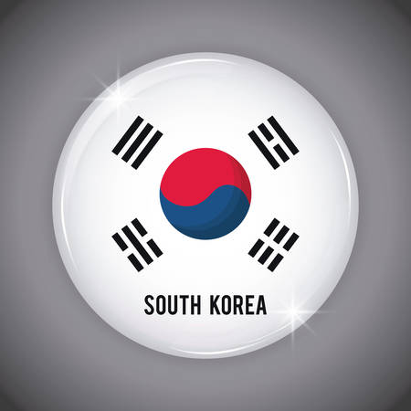 button with south korea flag over gray background, colorful design. vector illustration