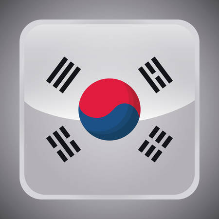 south korea flag in square shape over gray background, colorful design. vector illustration