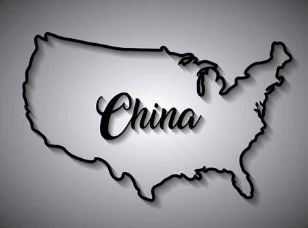 china map design over gray background, vector illustration Çizim