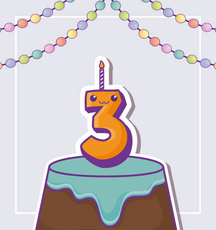 happy birthday design with birthday cake with number candle over purple background, colorful design. vector illustration Illustration