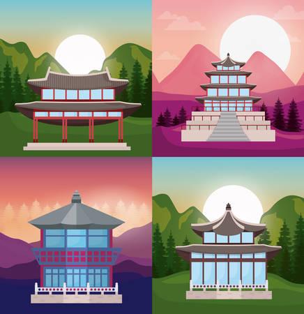 icon set of asia temples over landscapes, colorful design. vector illustration Illustration