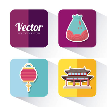 icon set of asia culture concept over colorful squares and white background, vector illustration Ilustração