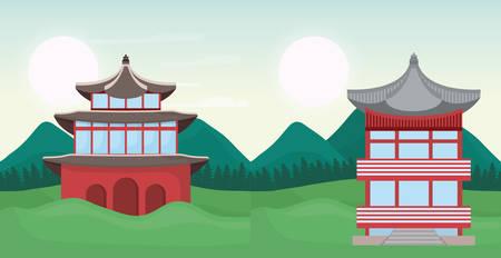 asia temples over landscape background, colorful design. vector illustration Illustration