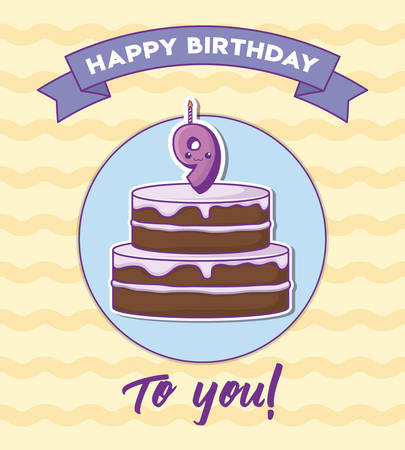 happy birthday invitation with birthday cake and 9 number candle over yellow background, colorful design. vector illustration