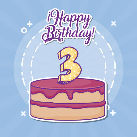 happy birthday design with birhday cake with number candle over blue background, colorful design. vector illustration