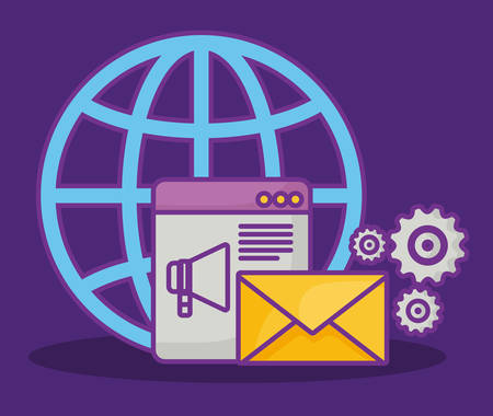 online advertising design with global sphere and related icons over purple background, colorful design. vector illustration