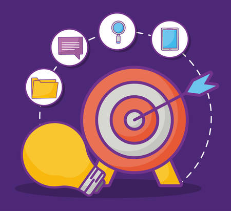 target and bulb with online marketing related icons over purple background, colorful design. vector illustration