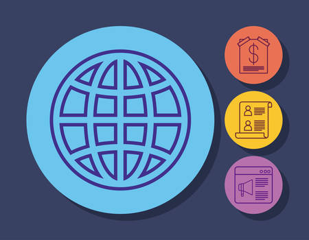 global sphere and online marketing related icons over colorful circles and blue background, vector illustration Illustration