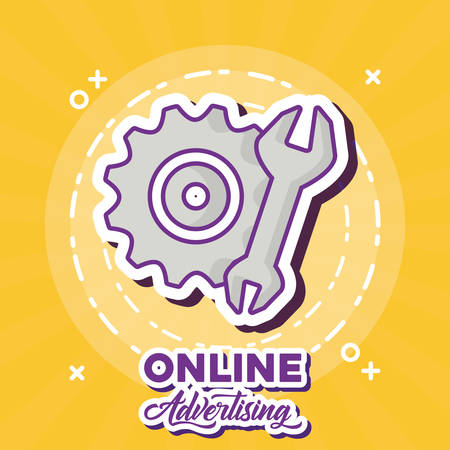 Online marketing design with gear wheel and wrench icon over yellow background, colorful design. vector illustration Illustration