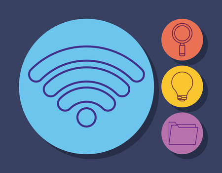 wifi symbol and online marketing related icons over colorful circles and blue background, vector illustration