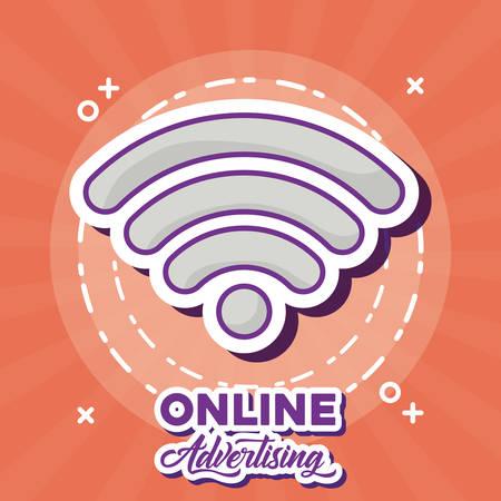 Online marketing design with wifi symbol icon over orange background, colorful design. vector illustration