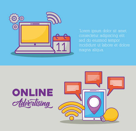 Infographic of online marketing concept with computer and tablet icon over colorful background, vector illustration Illustration