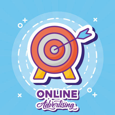 Online marketing design with target icon over blue background, colorful design. vector illustration