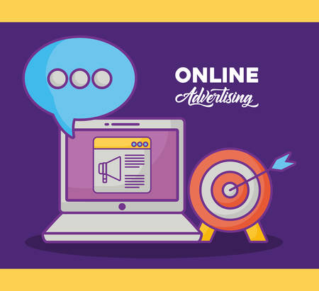 online advertising design with laptop computer and related icons  over purple background, colorful design. vector illustration