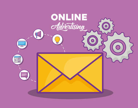 gear wheel and envelope with online advertising related icons over purple background, colorful design. vector illustration