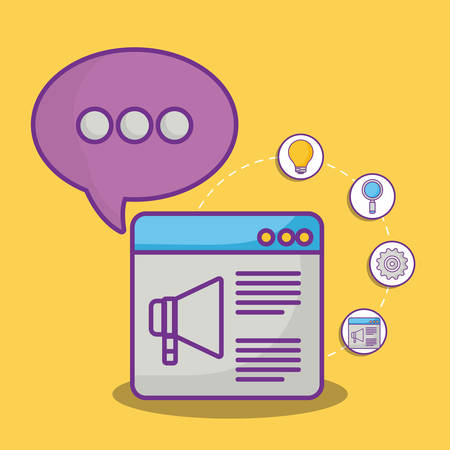 web interface and speech bubble with online marketing related icons over yellow background, colorful design. vector illustration