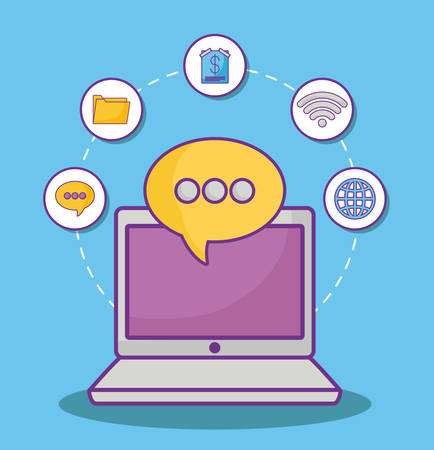 laptop computer and speech bubble with online marketing related icons over blue background, colorful design. vector illustration Illustration