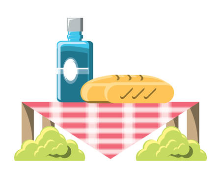 picnic design with breads and water bottle over white background, vector illustration