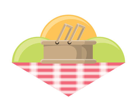 picnic design with tablecloth with hamburger over white background, vector illustration Illustration