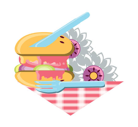 hamburger with flowers and cutlery over white background, vector illustration