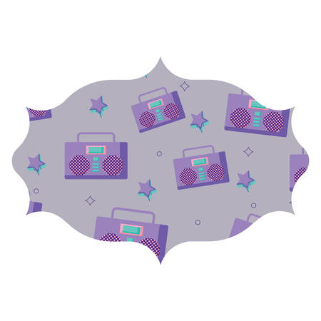 arabic frame with Boombox stereo and stars pattern over white background, vector illustration