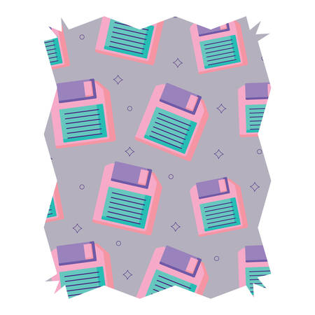 abstract frame with diskette pattern over white background, vector illustration