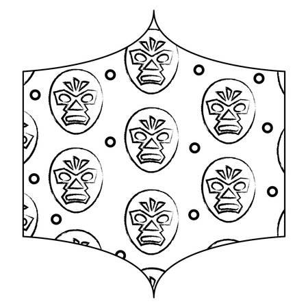 decorative frame with wrestler mask pattern over white background, vector illustration