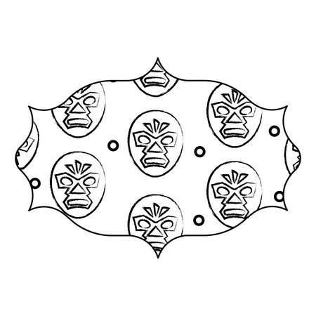 arabic frame with wrestler mask pattern over white background, vector illustration