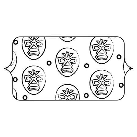 banner with wrestler mask pattern over white background, vector illustration Illustration