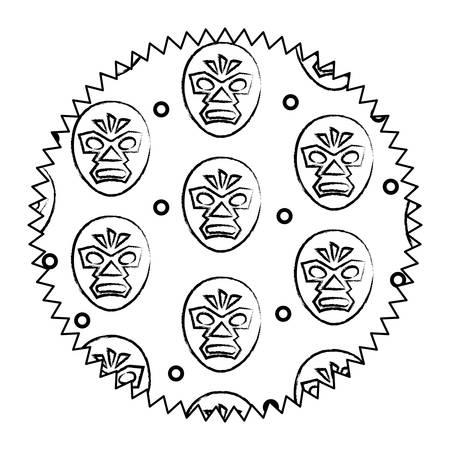 seal stamp with wrestler mask pattern over white background, vector illustration