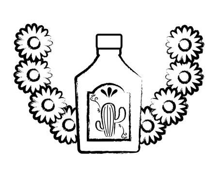decorative wreath of flowers with tequila bottle icon over white background, vector illustration Illustration