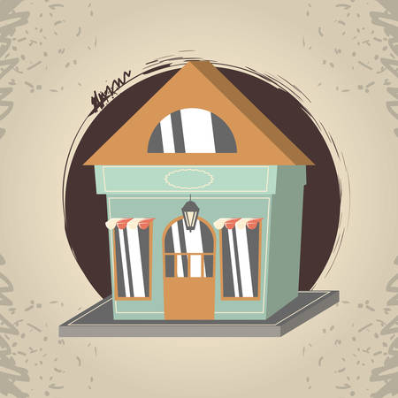 retro store building front vector illustration design Illustration