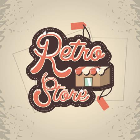 retro store building front vector illustration design Illusztráció