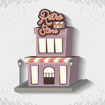 retro store building front vector illustration design 向量圖像