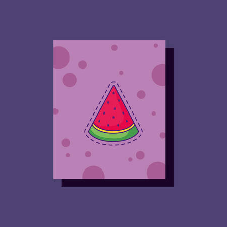 watermelon icon over purple background, colorful design. vector illustration
