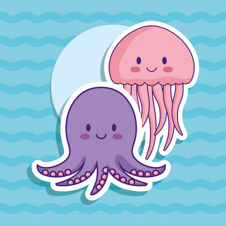 cute octopus and jellyfish over blue background, colorful design. vector illustration Illustration