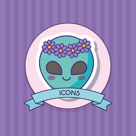 decorative ribbon with cute alien icon over purple background, colorful design. vector illustration