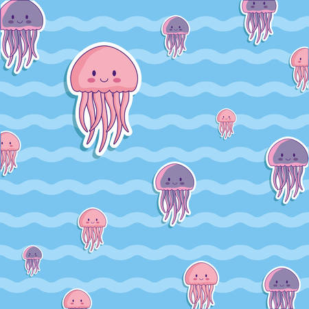 cute octopus and jellyfish background, colorful design. vector illustration
