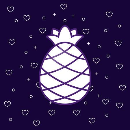 pineapple fruit icon over blue background, colorful design. vector illustration Illustration