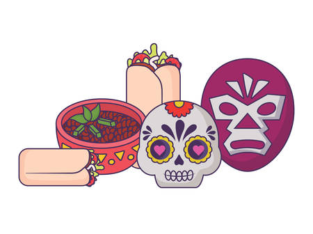 wrestler mask and sugar skull with mexican food over white background, vector illustration Vettoriali