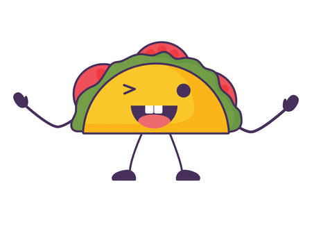 taco wiking an eye over white background, colorful design. vector illustration