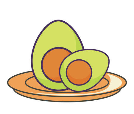 avocado vegetables over white background, colorful design. vector illustration Ilustração