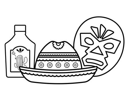 wrestler mask with mexican hat and tequila bottle over white background, vector illustration