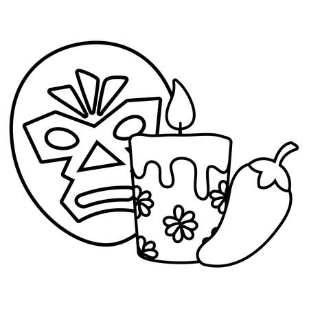 wrestler mask with candle and chili pepper over white background, vector illustration  イラスト・ベクター素材