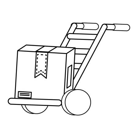 handcart with carton box over white background, vector illustration Banque d'images - 101819614
