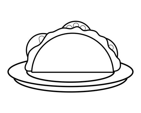 dish with Mexican tacos over white background, vector illustration
