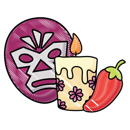 wrestler mask with candle and chili pepper over white background, vector illustration Illustration
