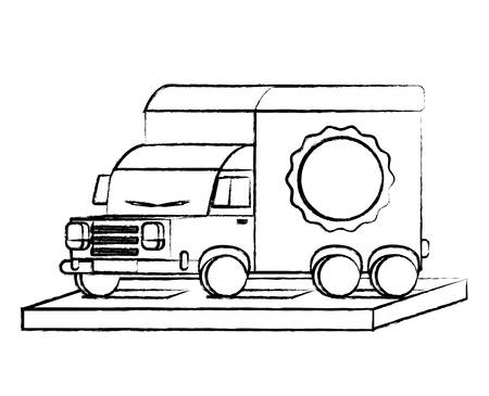 sketch of cargo truck icon over white background, vector illustration