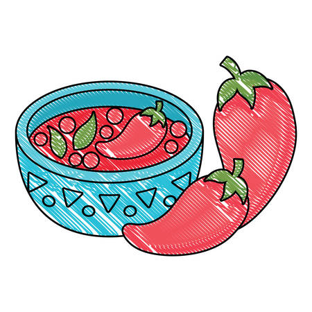 mexican spicy sauce bowl over white background, vector illustration Çizim