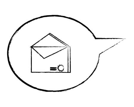 speech bubble with envelope icon over white background, vector illustration